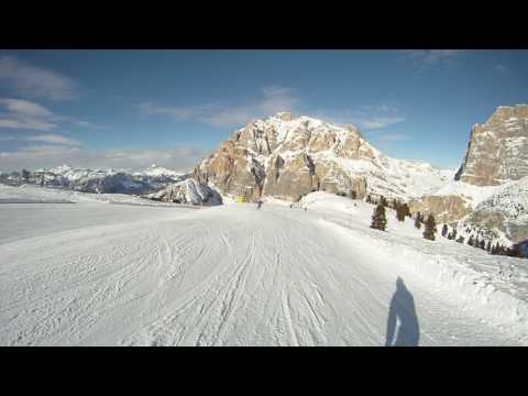 Lagazuoi (Dolomites)  - ski-run to Armentarola, most beautiful slope! (filmed on GoPro HD Hero)