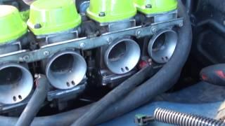 Toyota 18r engine first run in gsxr Mikuni bike carbs