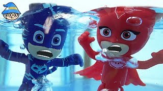 PJ Masks is trapped in the water. PJ Masks rescue episode
