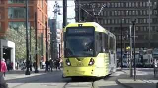 Manchester Metrolink Trams in the City Centre - 11th April 2015