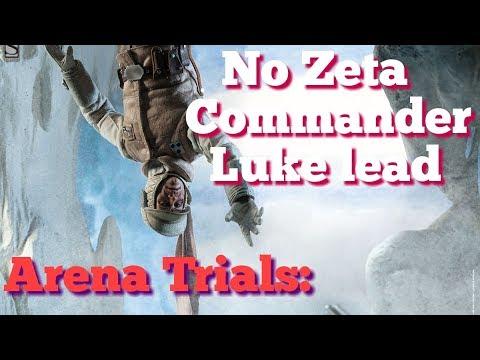 Commander Luke Arena Trials: No Zetas on CLS star wars galaxy of heroes swgoh