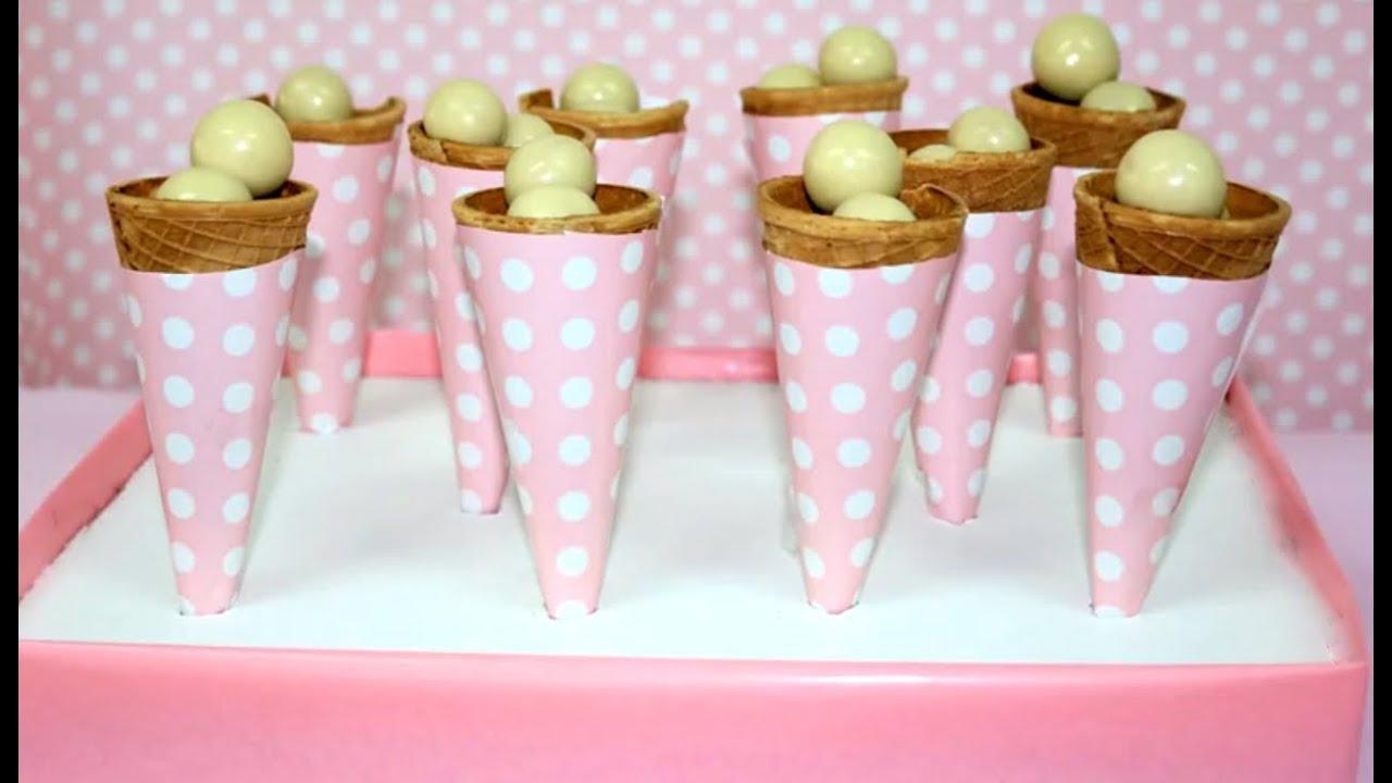 Cucuruchos de chuches ideas mesa dulce youtube for Ideas para mesas de chuches