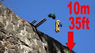 Lego Cargo Train falling down from castle wall