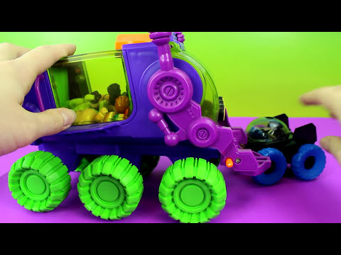 Imaginext Joker Hauler takes Caillou TMNT April Monsters Mike & Batman Moon Rover saves them