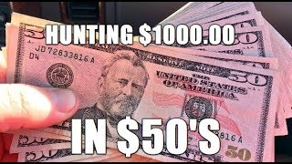 $1000.00 In $50's Bank Note Hunting For Star Notes, Fancy Serial Numbers & Errors