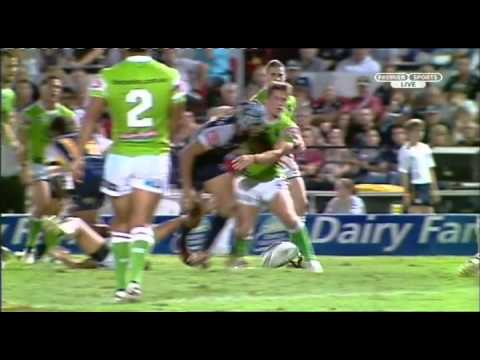 Cheeky Thurston try against Canberra + post game interview :)