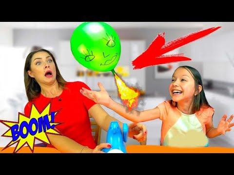 ВЗРЫВНОЙ ЧЕЛЛЕНДЖ Запусти ГОЛОВУ Buddy's Balloon Launch Game Challenge Игра Для Детей /// Вики Шоу