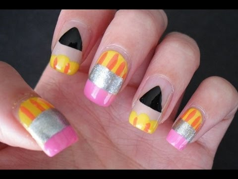 back to school nailart diy at home super cute and easy