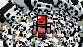 I created an army of 100 pandas in minecraft...