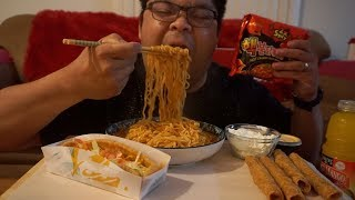 2X NUCLEAR NOODLES + TACO BELL MUKBANG | EATING SHOW | SUB REQUEST | ROLLED TACOS + DOUBLE CHALUPA