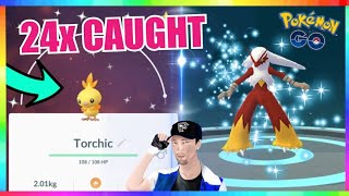 24x SHINY TORCHIC CAUGHT during COMMUNITY DAY EVENT in Pokemon Go! ( NEW RECORD )