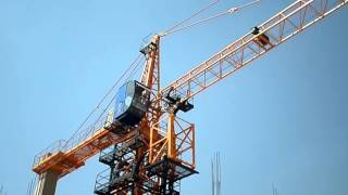 How work tower crane in a mega construction project  mp4