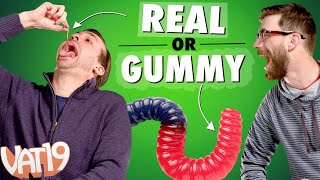 We Ate Worms, Brains, and Hair! | Gummy VS Real Challenge #1