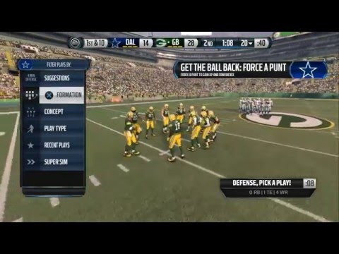 Madden NFL 16 PS4: Week 14: Cowboys v.s Packers. Push for the playoffs! Romo Back?