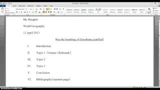 Setting up Research Paper - 9th Grade