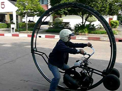 Monowheel motorcycle (with training wheels) made at university in Thailand Part 2 of 6 Music Videos