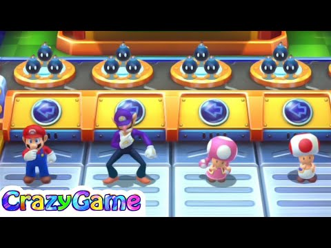 Mario Party 10 Coin Challenge - Mario v Waluigi v Toadette v Toad Master Difficult | CRAZYGAMINGHUB