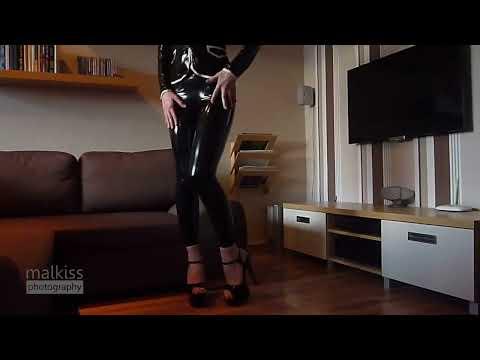 Black latex leggings and jacket performance