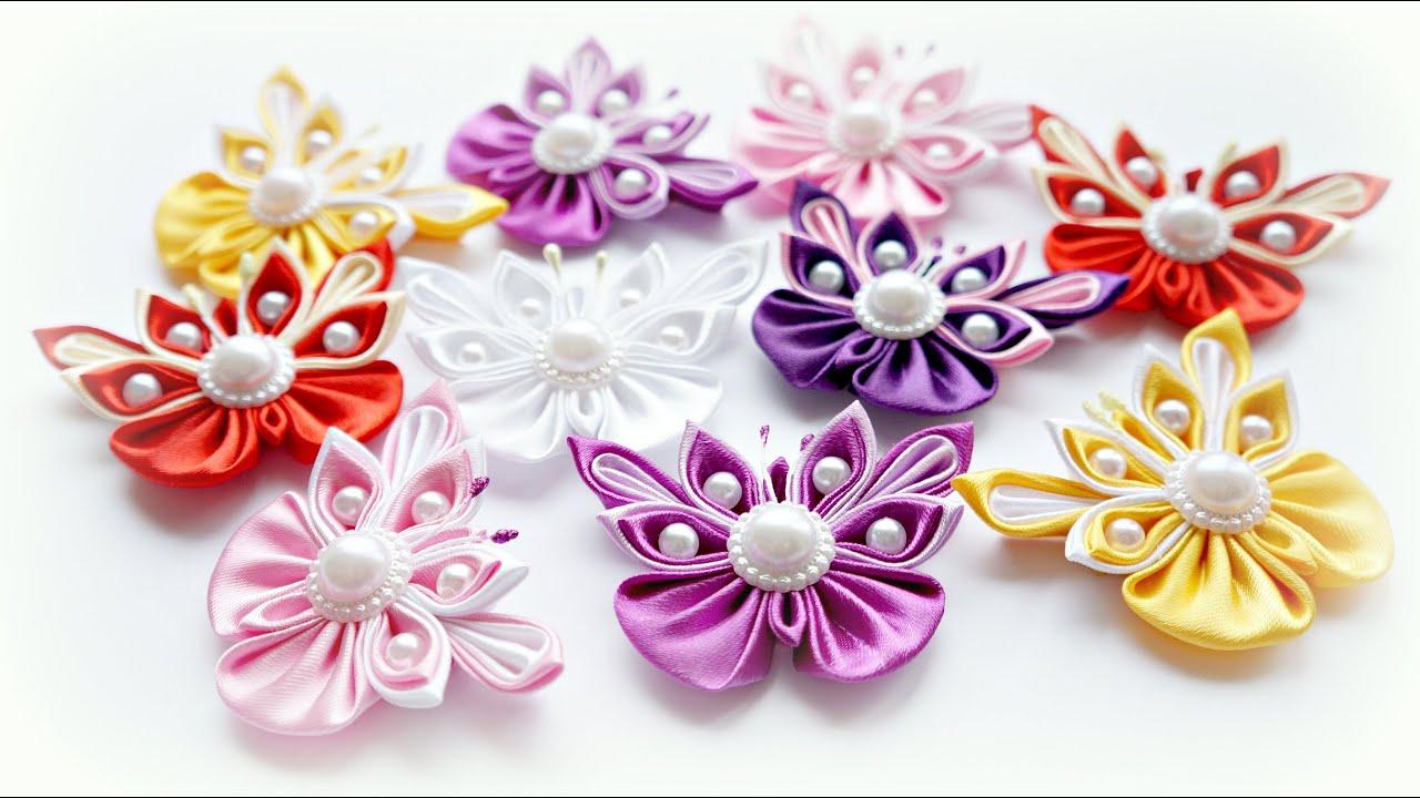Бабочки на резинке своими руками из лент 32