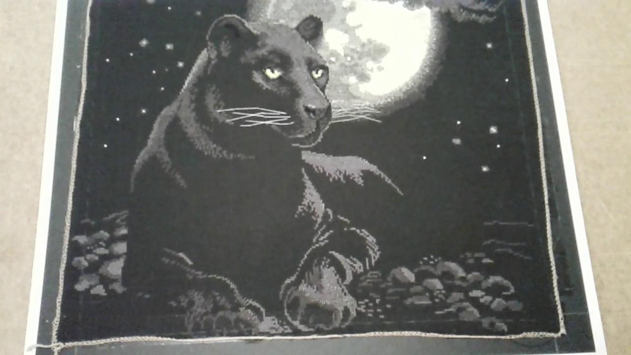 Вышивка черная пантера 90