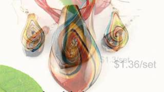 How to buy cheap wholesale murano lampwork glass jewelry set for DIY making of large
