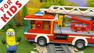 LEGO Fire Ladder Truck . Toy adventures . Stop motion