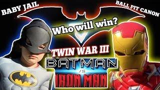 [TWIN WAR 3] - BATMAN vs IRONMAN | BALL PIT CANON & BABY JAIL!