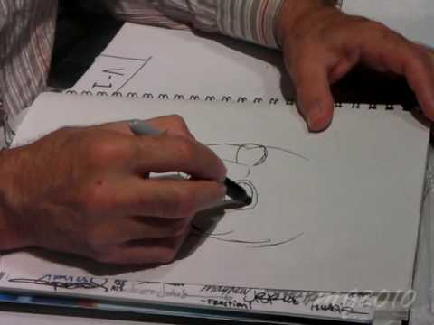 Dave Gibbons draws Nite Owl of Watchmen