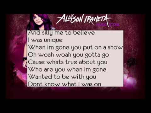 Allison Iraheta-friday I'll Be Over You (lyrics) video