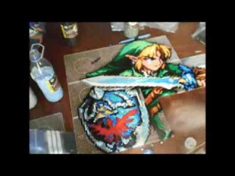 link from the legend of zelda made whit hama beads