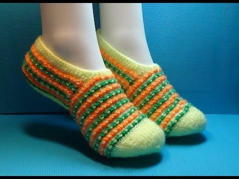 Вязание спицами домашние тапочки -следки #170