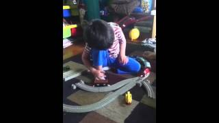 Playing with Tomas train set