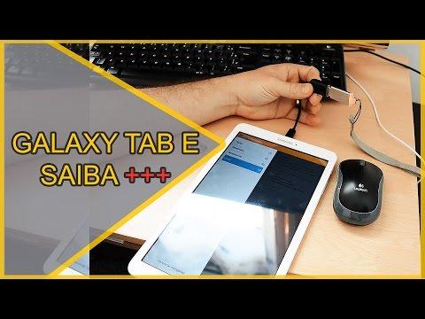 Unboxing Samsung Galaxy Tab E Cabo OTG Mouse Teclado Pen Drive Leitura PDF Whatsapp SD 32gb