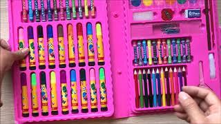 Đồ chơi trẻ em HỘP MÀU VẼ 80 MÓN HELLO KITTY màu sáp, màu bột, màu lông... Toys for Kids (Chim Xinh)