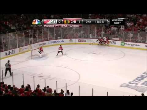 Patrick Sharp tic tac toe goal 1-0 May 29 2013 Detroit Red Wings vs Chicago Blackhawks NHL Hockey