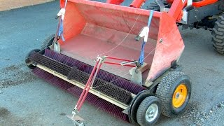 Homemade rotary broom for tractor bucket on Kubota BX