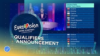 The qualifiers announcement of the first Semi-Final of the 2018 Eurovision Song Contest