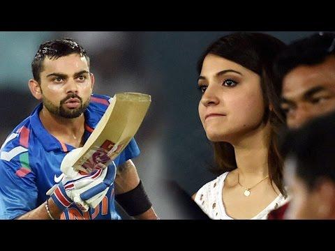 Virat Kohli blew a flying kiss to Anushka Sharma : India VS Sri Lanka at Rajiv Gandhi stadium