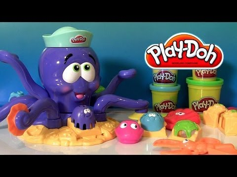 Play Doh Octopus Playset by Play Dough Ocean Animals Toys Review Poulpe Turtle Crab Lobster Fish