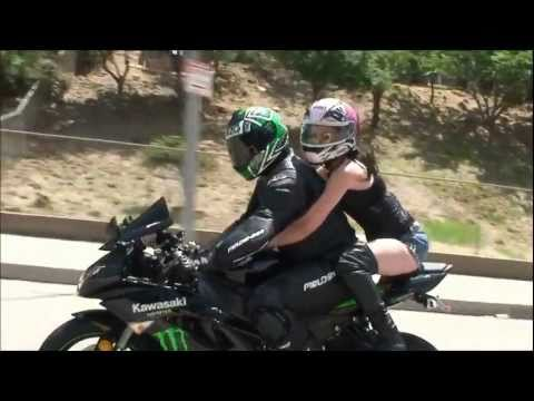 SEXY Girl Model Wants To Try Riding A Sportbike Motorcycle Passenger 2UP Kawasaki Ninja ZX6R vlog