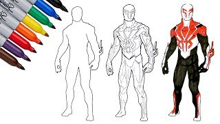 SPIDER-MAN 2099 White Suit Drawing and Coloring Page | SAILANY Coloring Kids