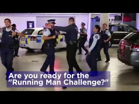 "Police officers across the globe dance the ""Running Man"""