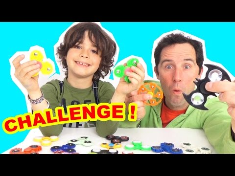 HAND SPINNER CHALLENGE Père VS Fils - 18 Hand Spinners BeGummy Etonnants & Incroyables - Démo Jouets