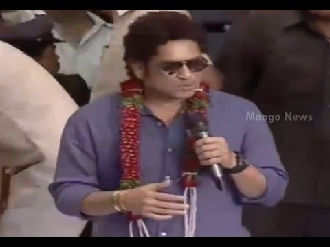 Sachin Tendulkar speaking in Telugu @ PVP Square Mall opening in Vijayawada