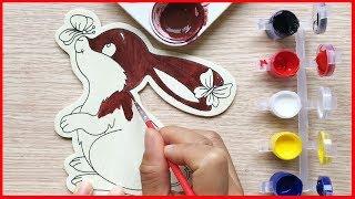 Đồ chơi trẻ em TÔ MÀU NƯỚC CHÚ THỎ CON BẰNG GỖ - Coloring rabbit toys for kids (Chim Xinh)