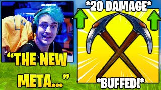 NINJA & Streamers Reacts TO NEW BUFFED *PICKAXE META* In Fortnite.. (Fortnite FUNNY & Daily Moments)