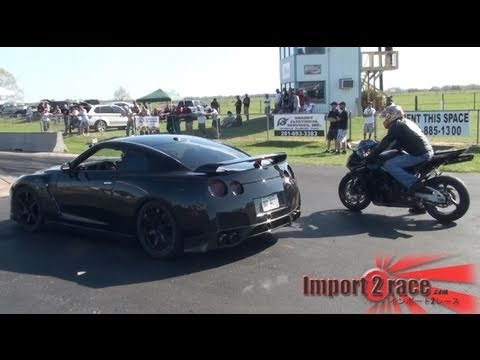 Honda CBR vs GT-R (forged performance) @ LoneStar Motorsports Park 2011