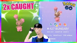 2x SHINY BUNEARY CAUGHT during 2019 EASTER EVENT in Pokemon Go! ( 1100+ Checks )