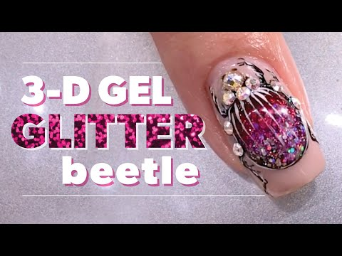 3-D Bejeweled Glitter Beetle Nail Art Using Gel Polish