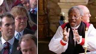 Sir Elton John's reaction to Paster Michael Curry's Royal Wedding sermon is priceless